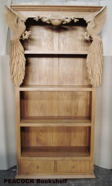 Bookshelf with PEACOCK engraving - Baliette Home ...