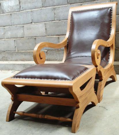 Plantation Chair +stool W Leather