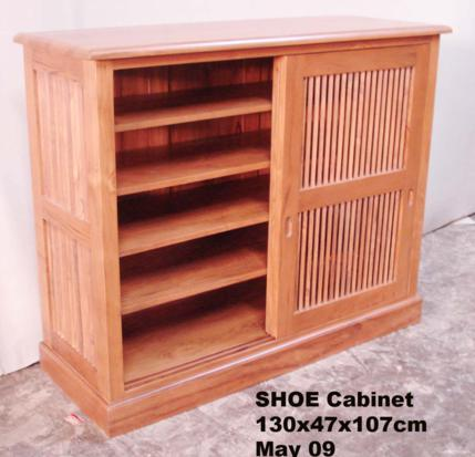 Shoe Cabinet 130x47x107 Sliding Slat Door May 09 Baliette Home Furnishings Bali Teak