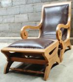 Plantation chair +stool w leather